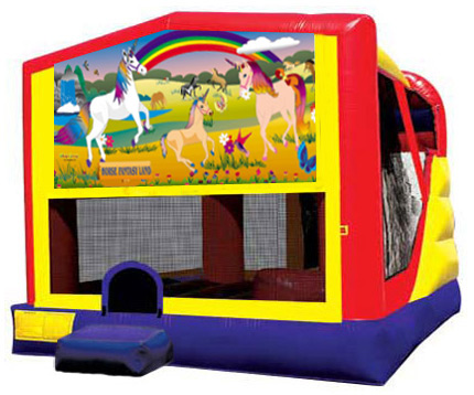 Extra Large Module 4 in 1 Combo Wet/Dry Slide With Horse Fantasy Land Banner